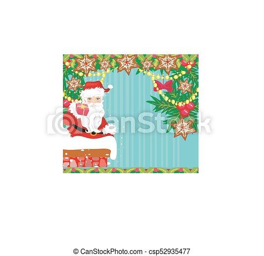 Tarjeta de Navidad abstracta con Santa Claus - csp52935477