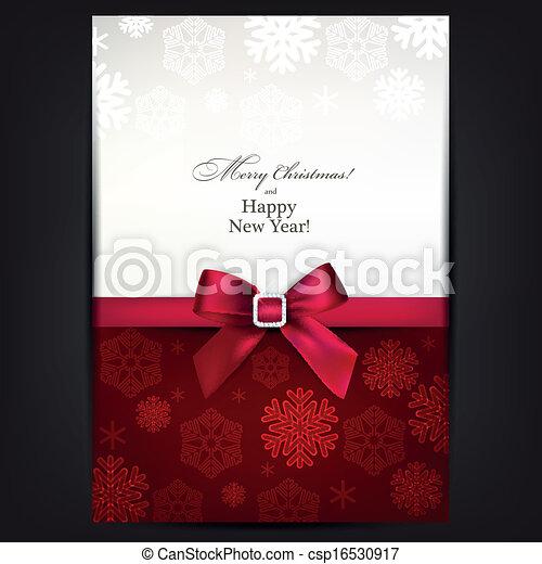 Tarjeta de saludo con arco rojo. - csp16530917