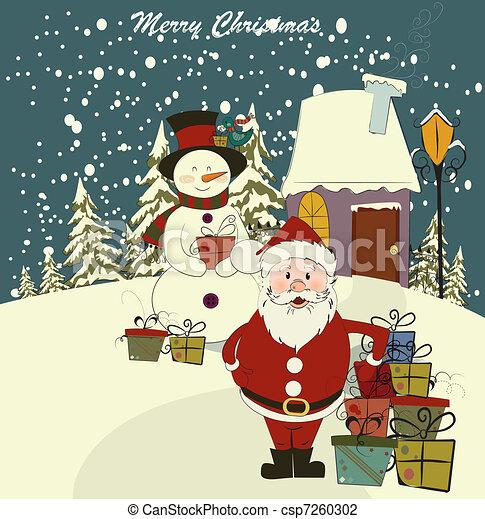 Tarjeta de Navidad con Santa y muñeco de nieve. Vector. Edición - csp7260302