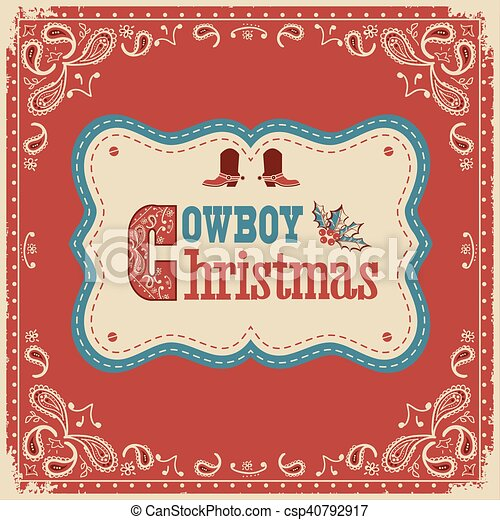 Tarjeta de Navidad Cowboy con texto a bordo - csp40792917