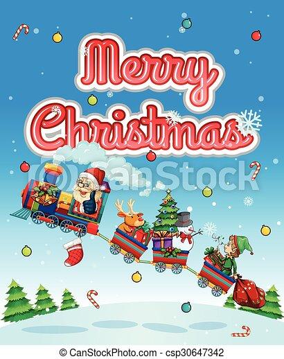 Feliz Navidad con Santa en el tren - csp30647342