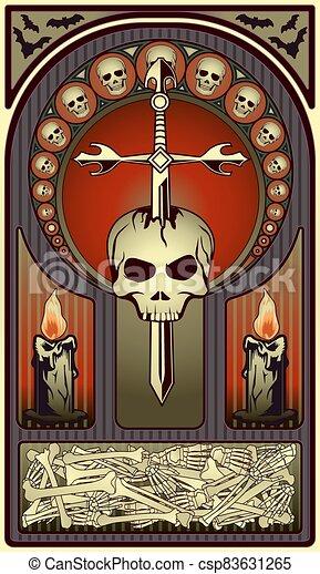 tarjeta, vector, nouveau, ilustración, halloween, arte - csp83631265