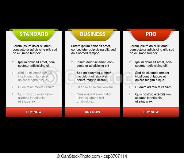 Versiones de productos vectores comparando tarjetas - csp8707114