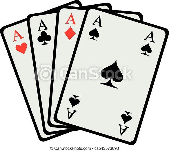 Cuatro ases jugando a las cartas - csp43573893