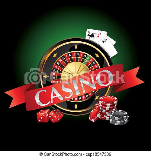 Elementos casino, ruleta, cartas - csp18547336