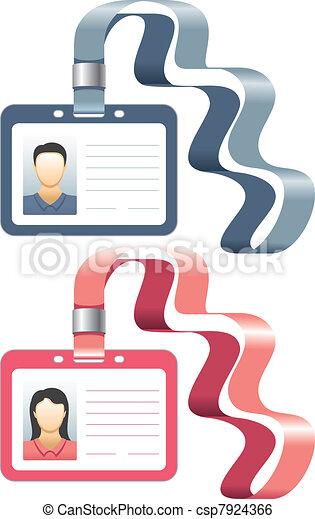 Sostén una placa o tarjetas de identificación - csp7924366