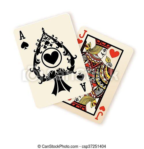 Black Jack jugando a las cartas. - csp37251404