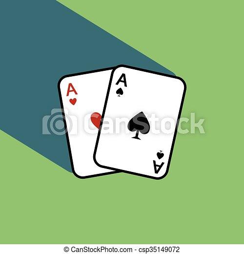 Un par de cartas de póker con sombra - csp35149072