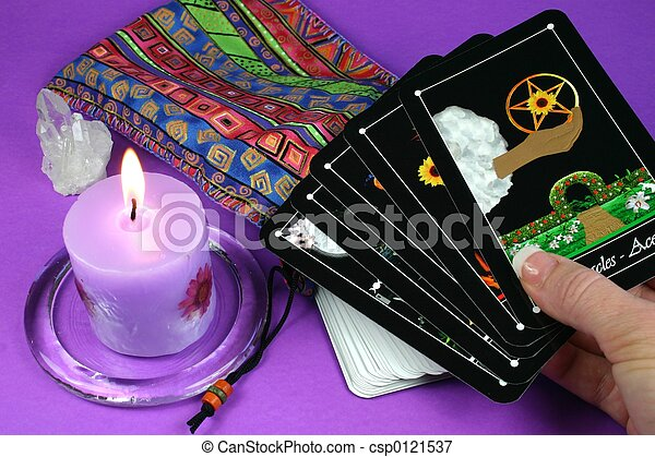 Tarot Cards in hand - csp0121537