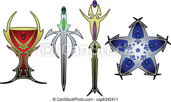 Tarot symbols in color - csp6342411