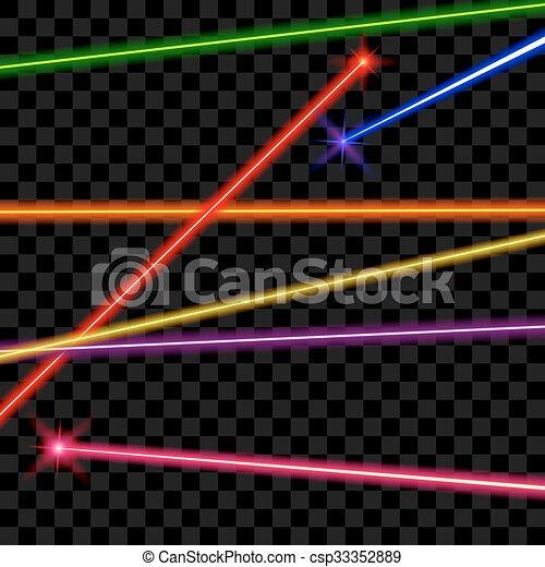 Rayos láser vectores en el fondo transparente de cuadros - csp33352889