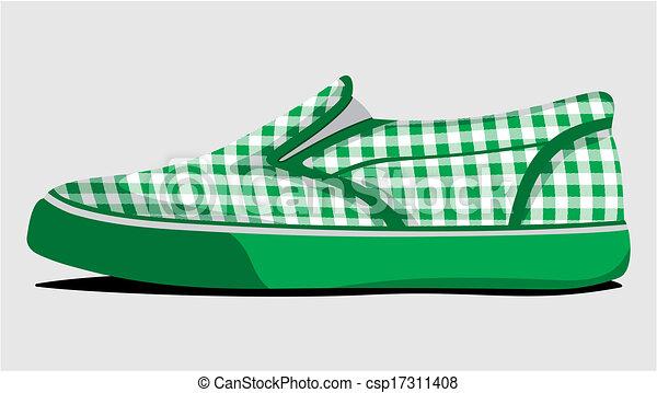 Zapatos de verano a cuadros verdes - csp17311408