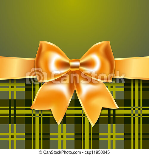 Tartan background with ribbon bow - csp11950045