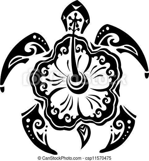 tartaruga, tatuaggio, tribale, fiore, ibisco - csp11570475