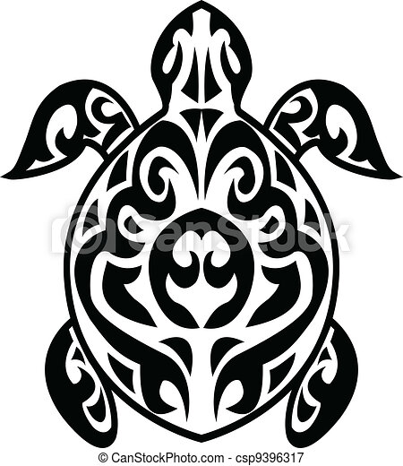 tartaruga, tatuaggio, tribale - csp9396317