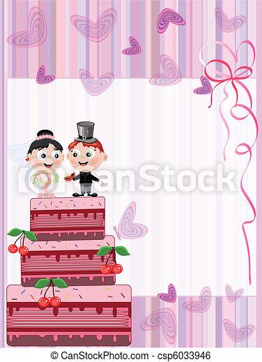 tarte, carte, mariage - csp6033946