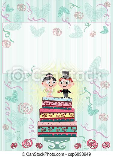 tarte, carte, mariage - csp6033949