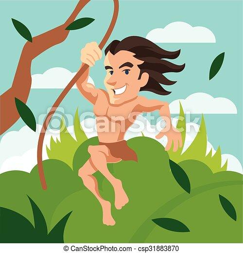 Tarzan vite oscillazione illustrazione cartone animato tarzan