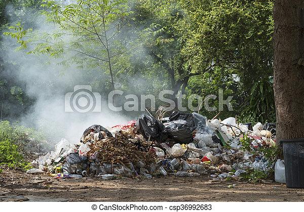 tas, brûlé, déchets - csp36992683