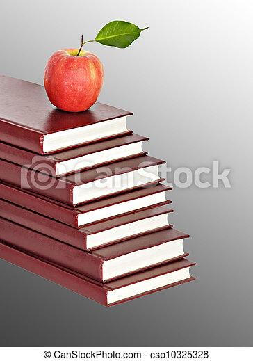 tas, livres, fond, pomme rouge - csp10325328