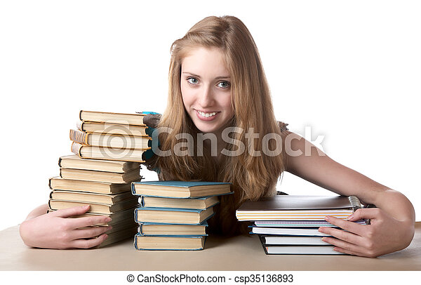 tas, livres, girl, writing-books, étreintes - csp35136893