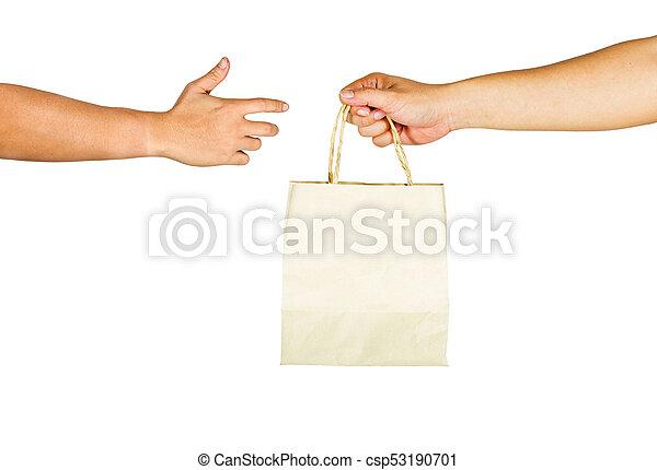 tasche, hintergrund., papier, halten hände, weißes, gebärde - csp53190701