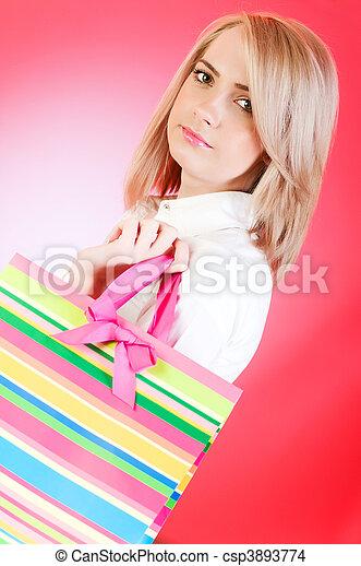 tasche, m�dchen, shoppen, blond - csp3893774