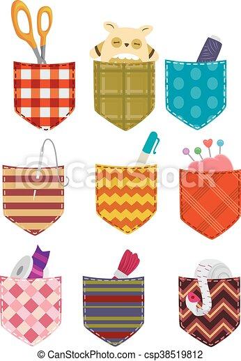 Tasche, muster, nähen, elemente. Elemente, bunte, nähen, abbildung ...