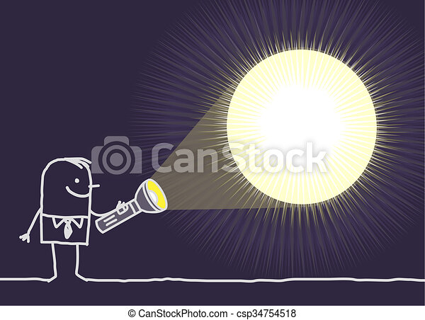 Taschenlampe clipart  Clipart von taschenlampe, &, -, hand, charaktere, gezeichnet ...