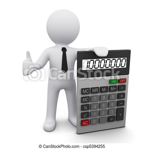 taschenrechner, 3d, mann - csp5394255