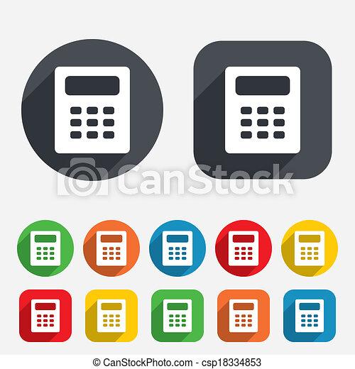Taschenrechner Buchhaltung Zeichen Icon Symbol Kreise Buttons