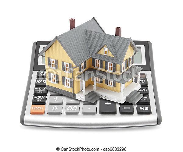 taschenrechner, hausfinanzierung - csp6833296