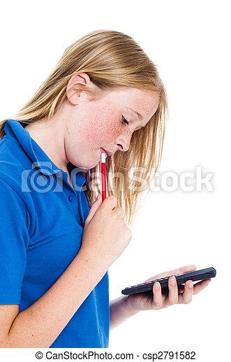 Mädchen und Taschenrechner - csp2791582