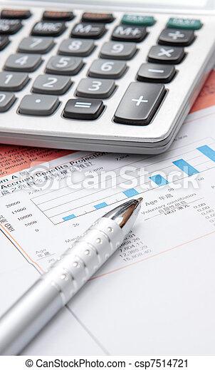 taschenrechner, tabelle, bestand - csp7514721
