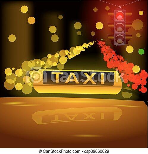 tassì, city., automobile, segno giallo, ardendo, tetto, notte - csp39860629