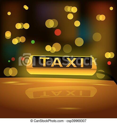 tassì, city., automobile, segno giallo, ardendo, tetto, notte - csp39969307