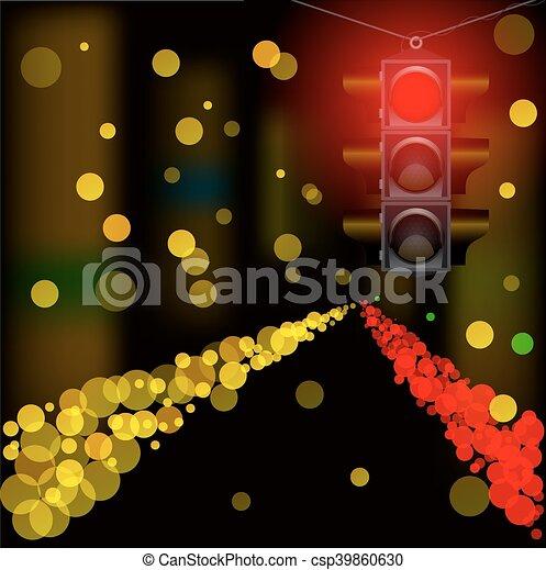 tassì, city., automobile, segno giallo, ardendo, tetto, notte - csp39860630