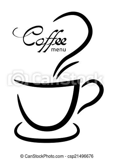 tasse à café, illustration, fond, noir, blanc - csp21496676