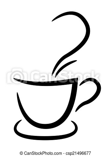 tasse à café, illustration, fond, noir, blanc - csp21496677