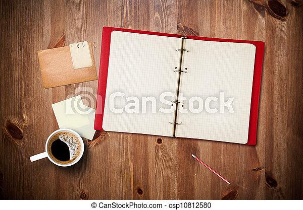 tasse à café, instant, bois, photos, note, papier cahier, espace de travail, table, vieux - csp10812580