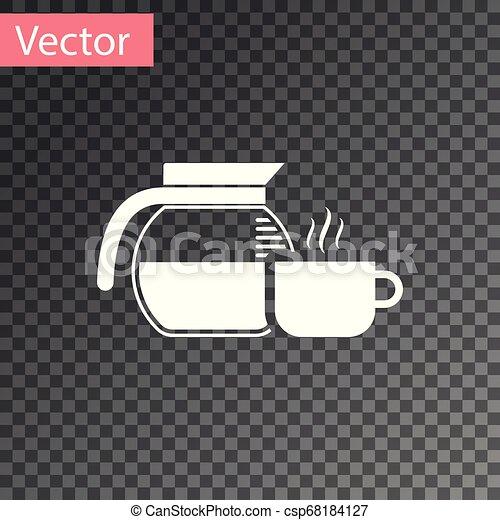 tasse à café, pot, isolé, illustration, arrière-plan., vecteur, blanc, transparent, icône - csp68184127