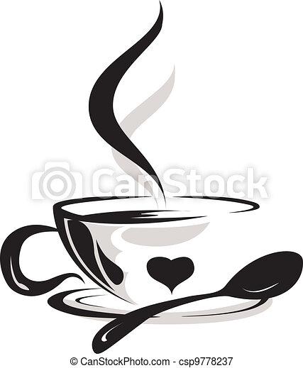 tasse à café, silhouette, amant - csp9778237