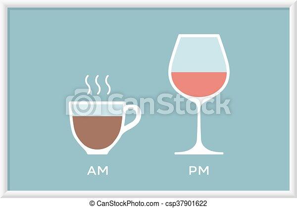 tasse à café, symbole, defferent, verre, temps, café, vin