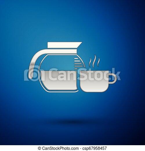 tasse café bleue, pot, isolé, illustration, arrière-plan., vecteur, argent, icône - csp67958457