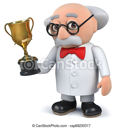 tasse or, tenue, scientifique, récompense, trophée, fou, 3d - csp69230317
