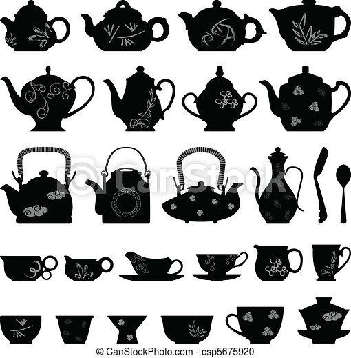 tasse thé, oriental, asiatique, théière - csp5675920