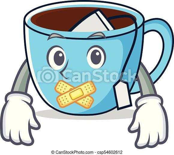 Tasse The Silencieux Dessin Anime Mascotte Silencieux Tasse The Illustration Vecteur Dessin Anime Mascotte Canstock