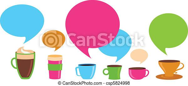 tasses café, parole, bulles - csp5824998