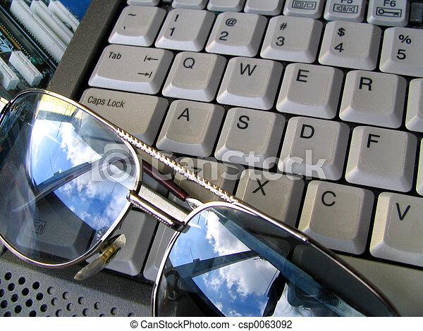 tastatur, brille, & - csp0063092