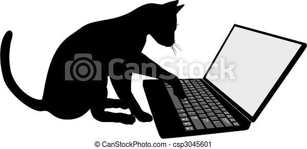 tastatur, laptop-computer, kätzchen katze - csp3045601